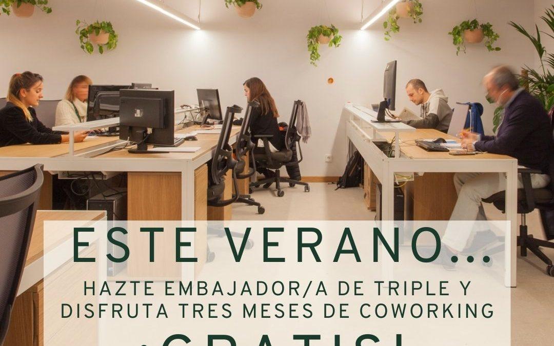 Este verano… solicita la Beca Coworking Ecológico y trabaja GRATIS en TRIPLE